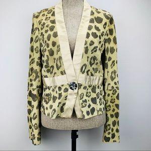 Giorgio Armani Suede Animal Print Button Blazer